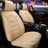 Beige US Auto Car SUV Leather Seat Covers Set Kit For Toyota Camry Corolla RAV4