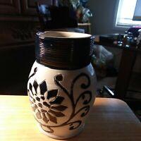 "Williamsburg Restoration CW Salt Glazed Pitcher 6"" Blue Ivory Sunflower Pottery"