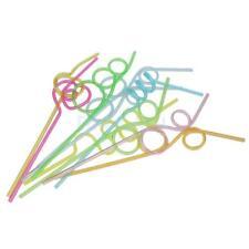 10x Bunte Strohhalme Trinkhalme Trinkröhrchen mit Knoten Wiederverwendbar