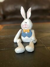 Midwest of Cannon Falls Wooden Easter Bunny W/ Blue Vest jointed Eddie Walker