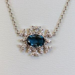 HUEB New 18K White Gold, London Blue Topaz  & Diamond Pendant Necklace