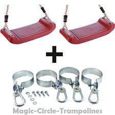 2x Kunststoff Schaukelsitz Rot Kinderschaukel Brettschaukel + 4x Schaukelhaken