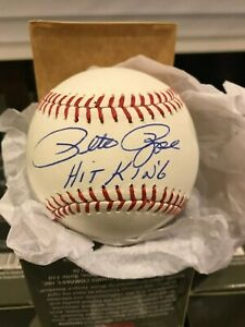"""PETE ROSE AUTOGRAPHED MLB BASEBALL REDS """"HIT KING"""""""