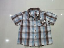 Boys Trendy Blue and Brown Check Shirt Top - Age 9 - 12 Months.