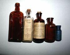 5 Vintage Glass Medicine apothecary Bottles Piso's Vapo-Resolene BromoSeltzer