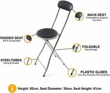 BLACK FOLDING HIGH CHAIR SEAT ROUND BAR STOOL BREAKFAST PADDED HOME KITCHEN
