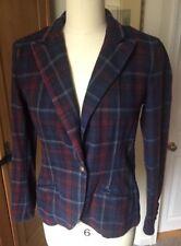 LRL Ralph Lauren Flannel Plaid Blazer Size 6 Crest Buttons