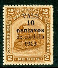Nicaragua 1913 Bluefields Train Surcharge 10¢/2 Peso Scott # 326 MNH H423 ⭐⭐⭐⭐⭐⭐