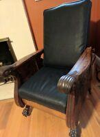 Antique Victorian MORRIS Chair 🦁 Claw Foot Mahogany Oak Recliner Arts & Crafts