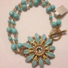 Clara Beau Blue And Gold Flower Bracelet