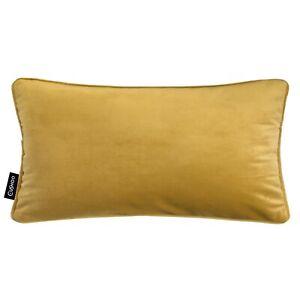 Velvet Oblong Cushion Mustard Yellow Piping Rectangle Ochre Case Sofa Cover UK