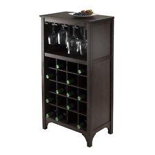 Home Bar Wine Liquor Wood Cabinet with Glass Rack Holder Bottle Storage