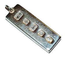 Fully Hallmarked Sterling Silver Heavy Ingot Pendant - 30.9g