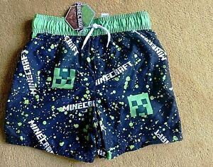 Boys Shorts- Black / Green - MINECRAFT- Age 7-8 Years- NEW
