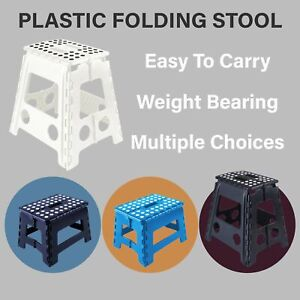 Portable Plastic Foldable Chair Flat Outdoor Folding Kids Step Stool BLACK/WHITE