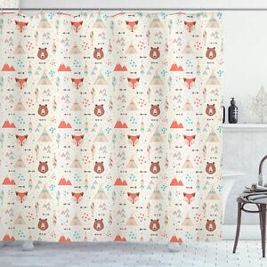 Tribal Shower Curtain Fox Bear Arrows Print for Bathroom