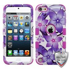 Purple Hibiscus Flowers Armor Tough Rugged Case for Apple ipod Touch 6th 5th Gen