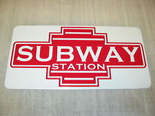 SUBWAY STATION ART DECO Metal Sign Model Train Vintage Style Retro Design Metro