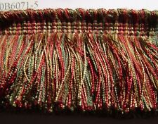2 Layer Very Thick Brush Fringe Cut Fringe Red Putty Gold Green