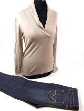 2-tlg. ESPRIT Damen Bekleidungsset Gr. M - 3/4 Jeans - Pullover Langarm Kragen