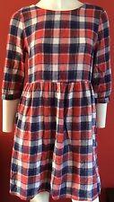 Checked 3/4 Sleeve Shirt Dresses for Women