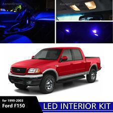 7PCS Blue Interior LED Light Kit 1999 - 2003 Ford F150 F-150 White for License