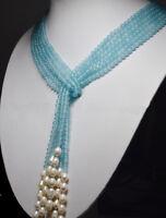Collana lunga Lariat 3 Fili di Acquamarina che termina con Perle Barocche Ovali