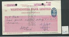 wbc. - CHEQUE - CH1281- USED -1957- WESTMINSTER BANK, CHESTERFIELD