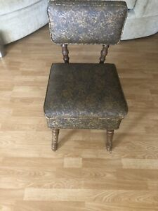 Vintage Mid Cent Mod Sewing Chair w/Storage Seat Brown Tapestry Vinyl Wood