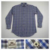 Peter Millar Mens Blue Check Button Front Long Sleeve Casual Shirt Medium