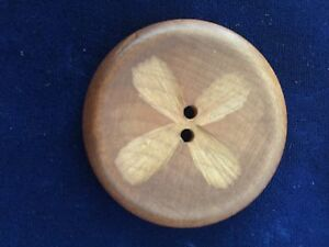 Vintage Carved Wood Button Large With Flower Motif Chunky Hippy Flower Power
