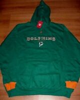 Miami Dolphins Hoodie 2XL Embroidered Throwback Logos Teal Hooded Sweatshirt NFL