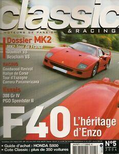 CLASSIC & RACING 5 DOSSIER JAGUAR MK2 FERRARI F40 ENZO 308 GTB Gr4 HONDA S800