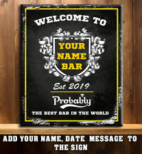 PERSONALISED BAR CLUB  PUB  MAN CAVE SHED   Metal Wall Sign