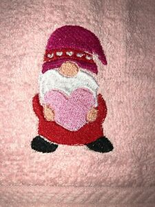 Embroidered PINK Bathroom Hand Towel Gnome Valentine's Day Theme  Heart HS1844