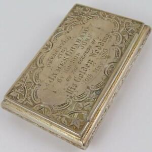 ANTIQUE 1886 HILLIARD & THOMASON ENGLISH STERLING SILVER PRESENTATION SNUFF BOX
