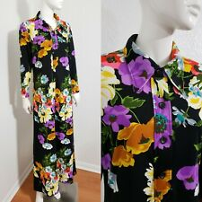Vtg 60s 70s Floral Boho Chic Bohemian Hippie Shirt Dress Lounge Hostess Sz M L