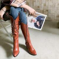 Womens Fashion Chain Decor Pointy Toe Western Boots Knee Boots Pumps High Heels