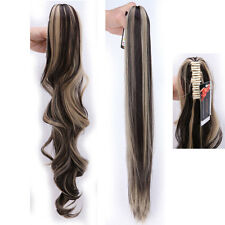 US Ponytail Clip In Hair Extensions Jaw Claw On Pony Tail Real As Human Hair NEW
