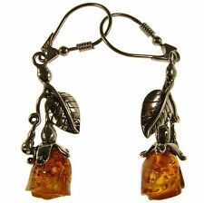 Baltic Amber Sterling Silver 925 Drop Dangling Hoops Roses Earrings Jewellery