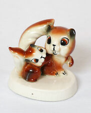 """Vintage 3.25"""" Tall Porcelain Mother & Baby Squirrel Figurine - Made in Japan"""