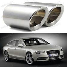 2X EXHAUST TAILPIPE TAIL PIPE TRIM END TIP MUFFLER Silver for Audi A5 2008-2014