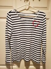 Loft Outlet Womens Size M long Sleeve Striped Shirt with heart