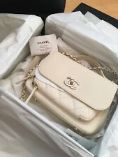 CHANEL Business Affinity Crossbody Bag Top Handle Cream Gold CC 2017 Small