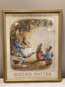 Vintage Poster Framed Wood Glass Beatrix Potter A Tale Of Benjamin Bunny Print