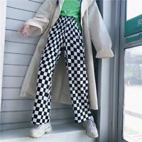 High Waist Checkered Plaid Pants Casual Loose Trousers Women Fashion Sweatpants