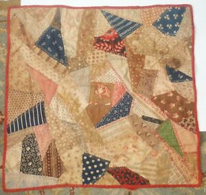 """Antique Doll Size Crazy Quilt Hand Made 20"""" x 20"""" P1602"""