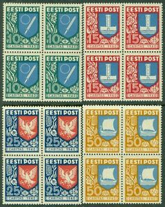 ESTONIA : 1940. Scott #B46-49. Blocks of 4. Very Fine Mint Never Hinged Cat
