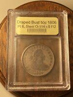 US Draped Bust 50c 1806 Pt 6 Stem O-114 R-5 Fine Coin