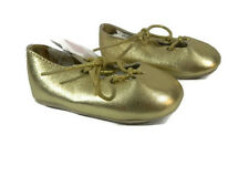 Janie and Jack Baby Girl Shoes Crib Size 3 Gold Ballet Infant New